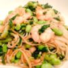Empty the Freezer Challenge Week 4 Prawn noodles with edamame beans kale and chilli