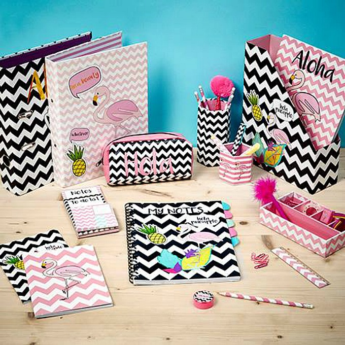 Poundworld stationery flamingo pineapple collection