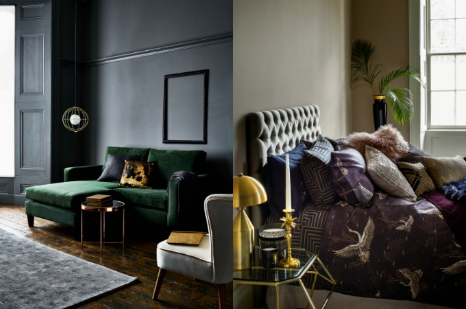 autumn winter 2017 home trends on a budget deep dark and dramatic Argos and House of Fraser
