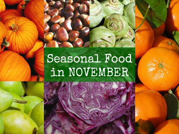British seasonal food in November in season fruit vegetables UK