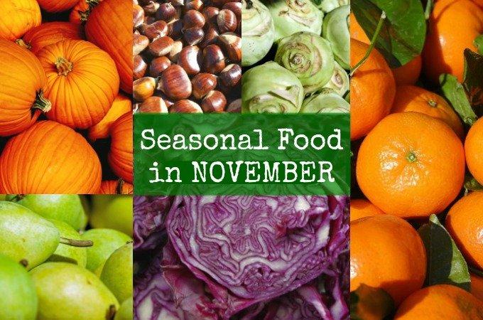 British seasonal food in November in season fruit vegetables UK